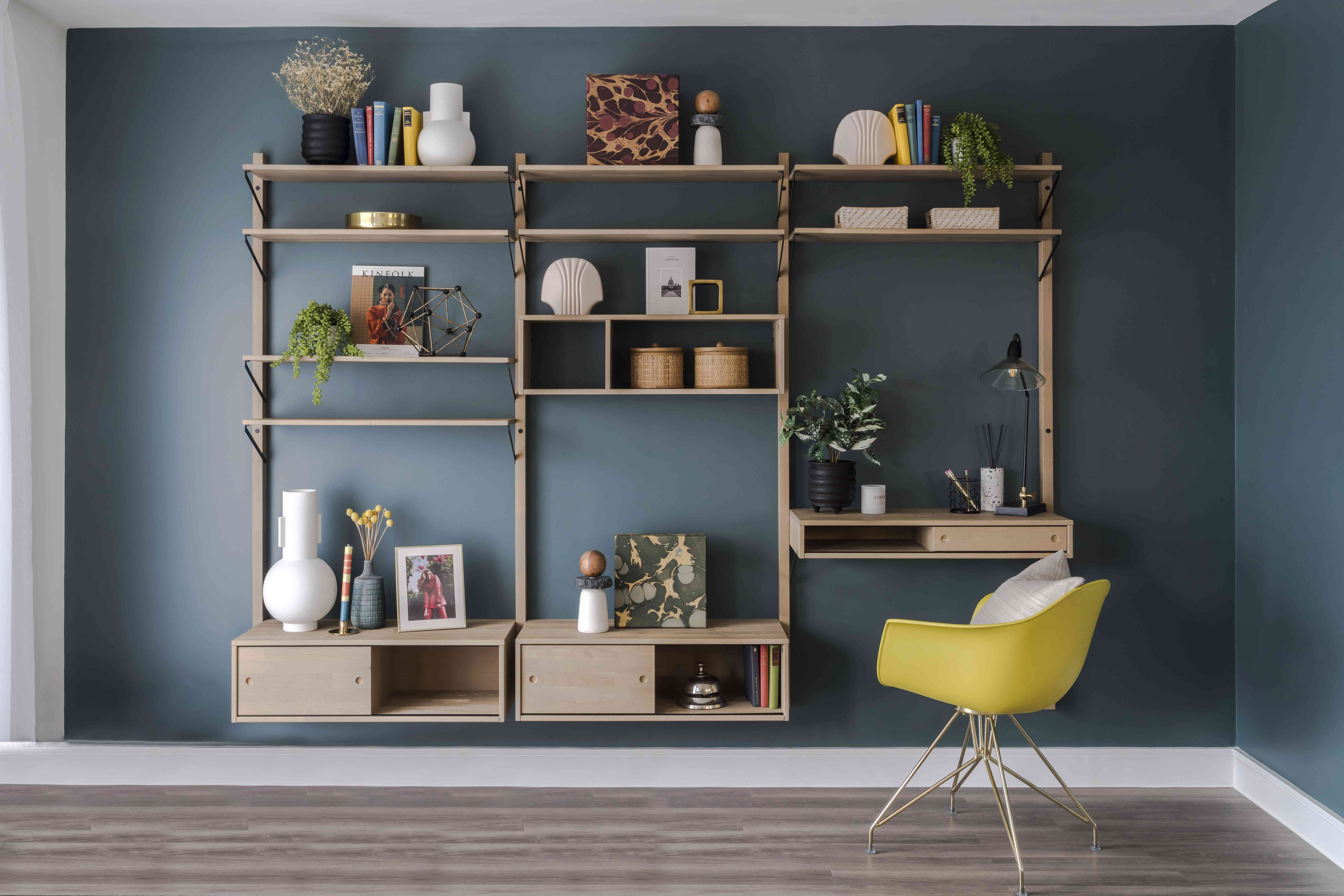 styled shelving follows the triangle rule
