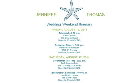 a wedding itinerary template in green and blue