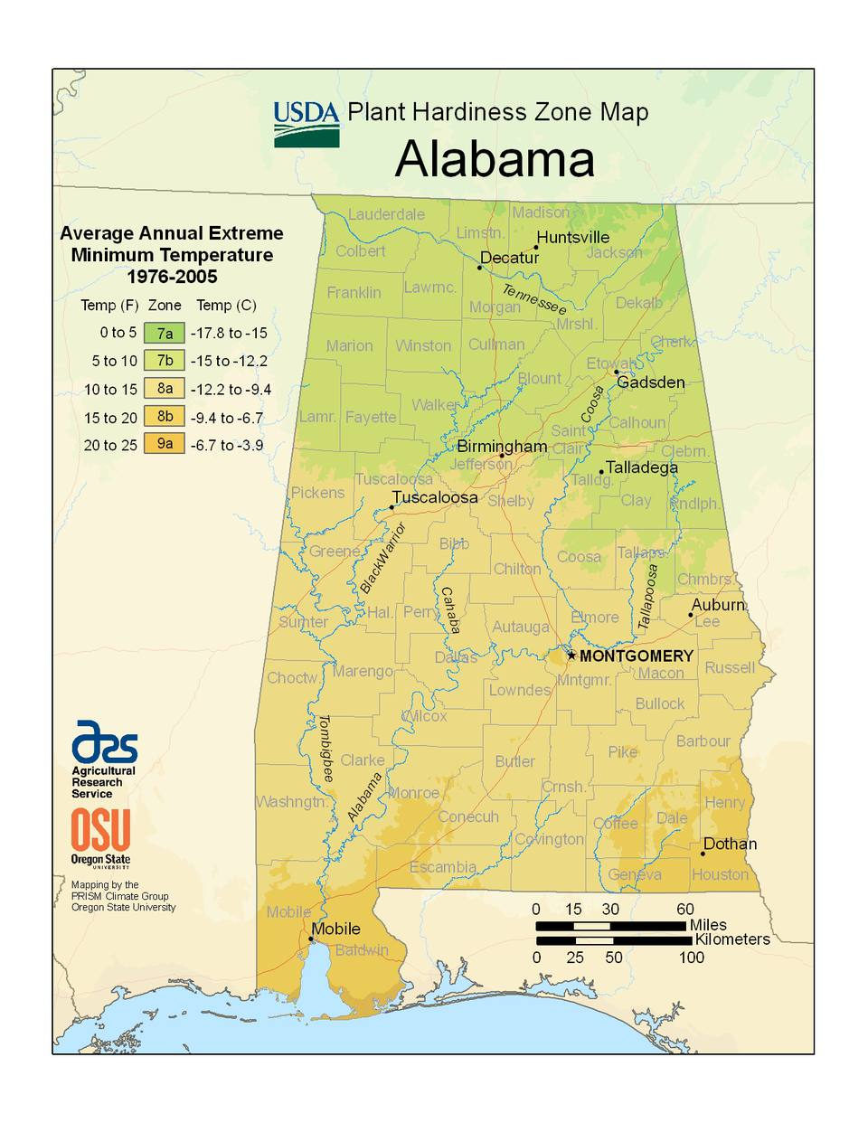 State maps of usda plant hardiness zones alabama usda zone map photo of the alabama hardiness zones publicscrutiny Gallery