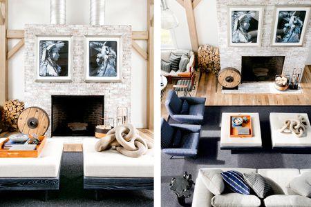 Distressed Brick Blue Living Room