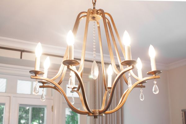 a chandelier in a dining room