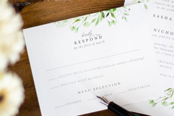 RSVP on an invitation