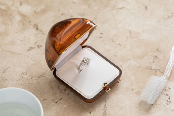 diamond ring and cleaning supplies