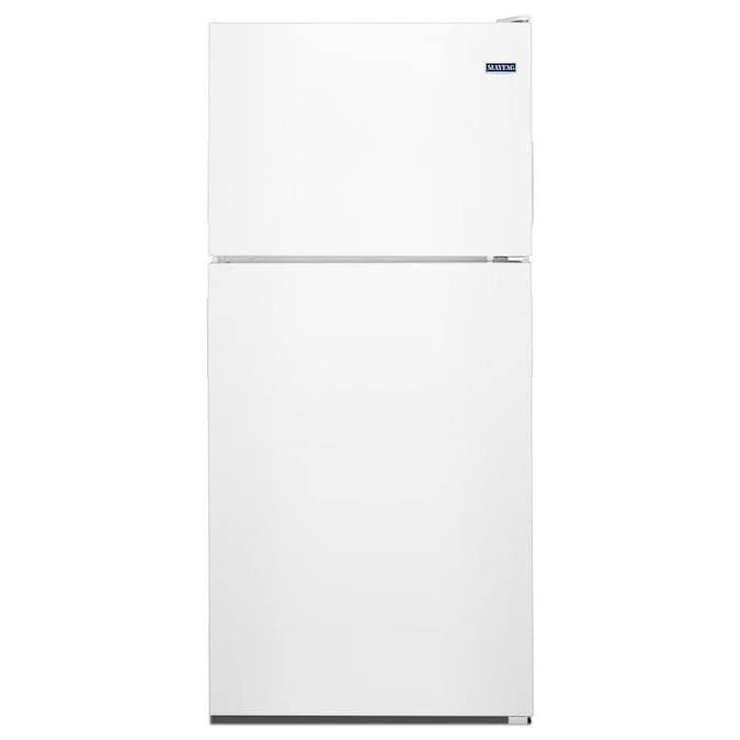 The Maytag MRT118FFFH has a top freezer and precise digital controls.