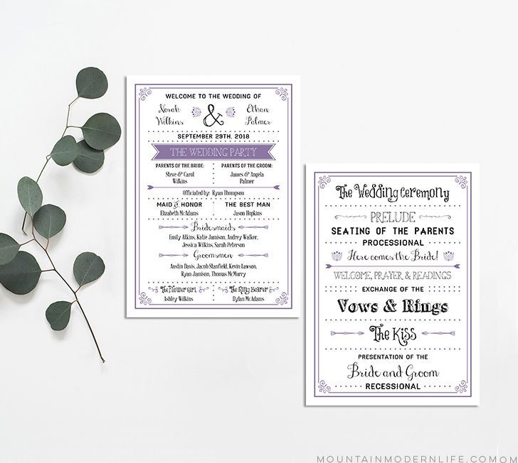 A wedding program template in black and lavendar on a table with greenery