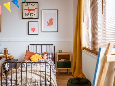 A child's bedroom with a fox theme