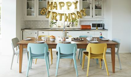 birthday party decorations in a kitchen
