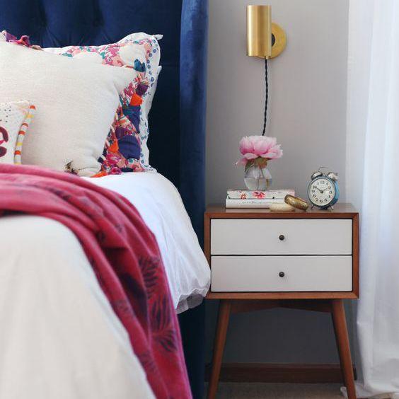 Cabecero de cama de terciopelo azul