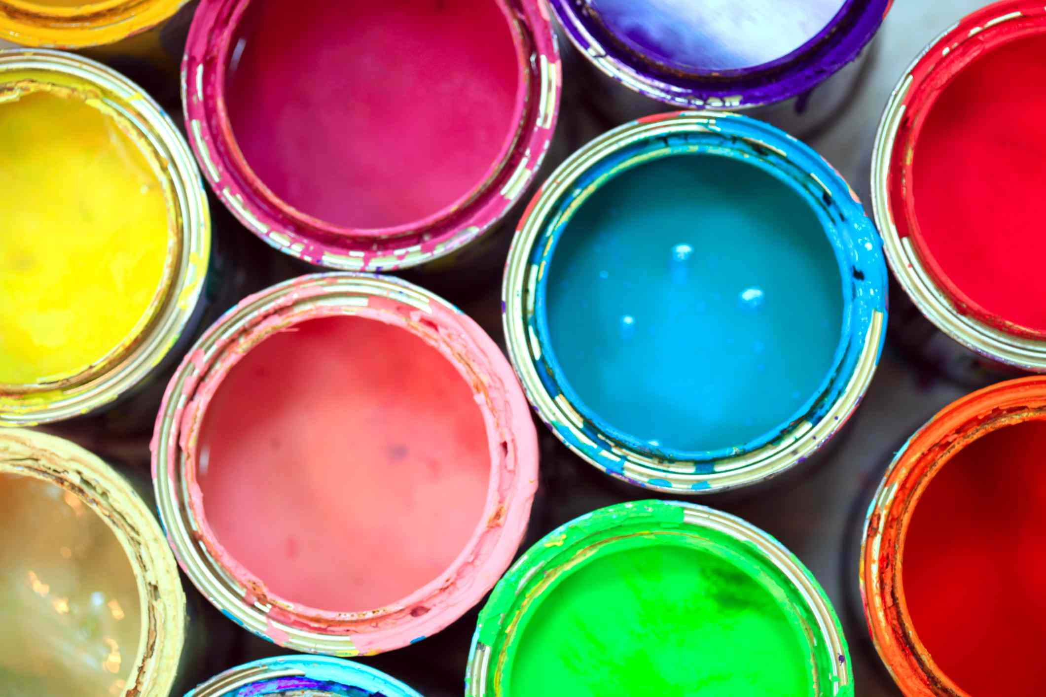 Bright cans of paint