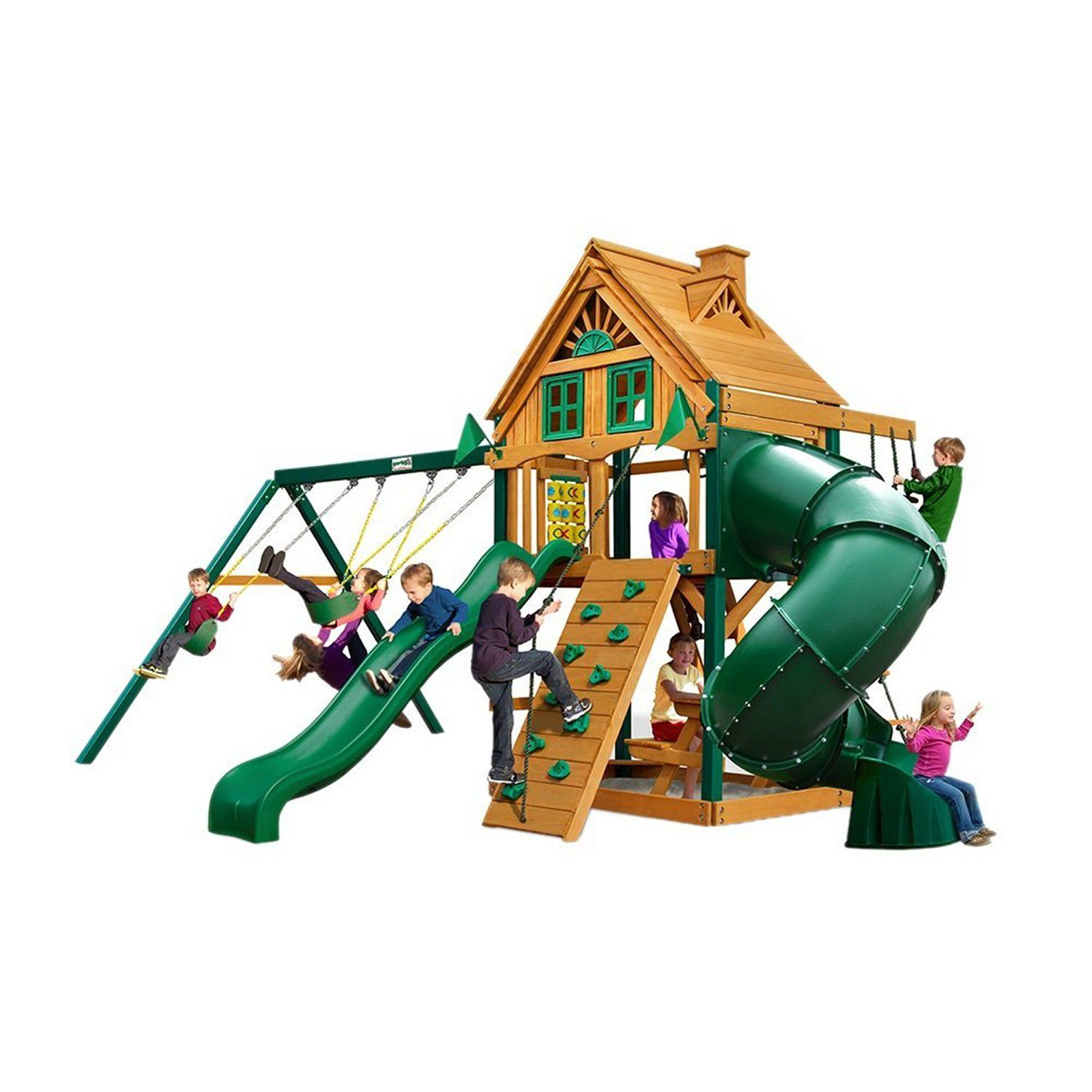 A picture of the Gorilla Playsets Mountaineer Wooden Swing and Play Set - The 8 Best Wooden Swing Sets And Playsets To Buy In 2018