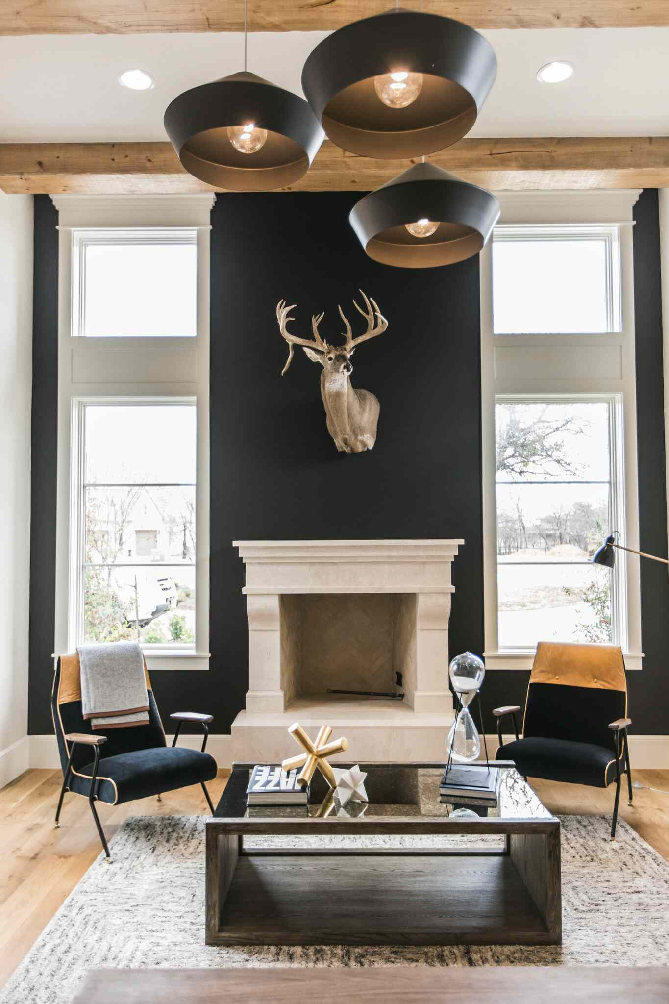 black living room with sculptural lighting