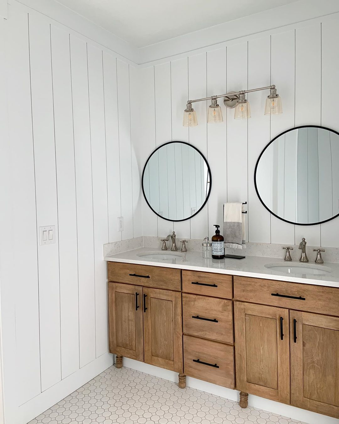 Bathroom with natural wood stain