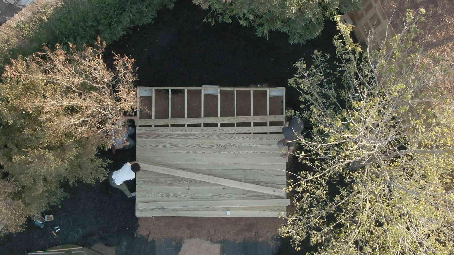 overhead of deck boards