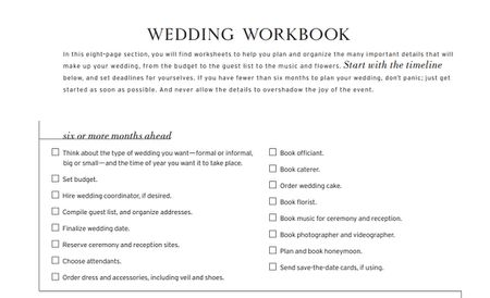 a wedding workbook checklist