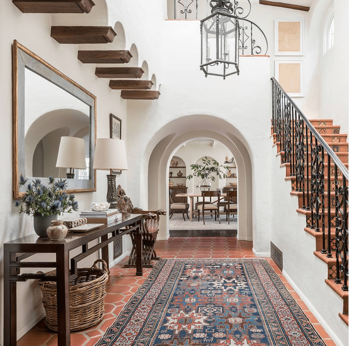 The interior of a Spanish Colonial home.