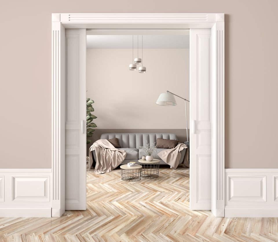 Living room with pocket doors