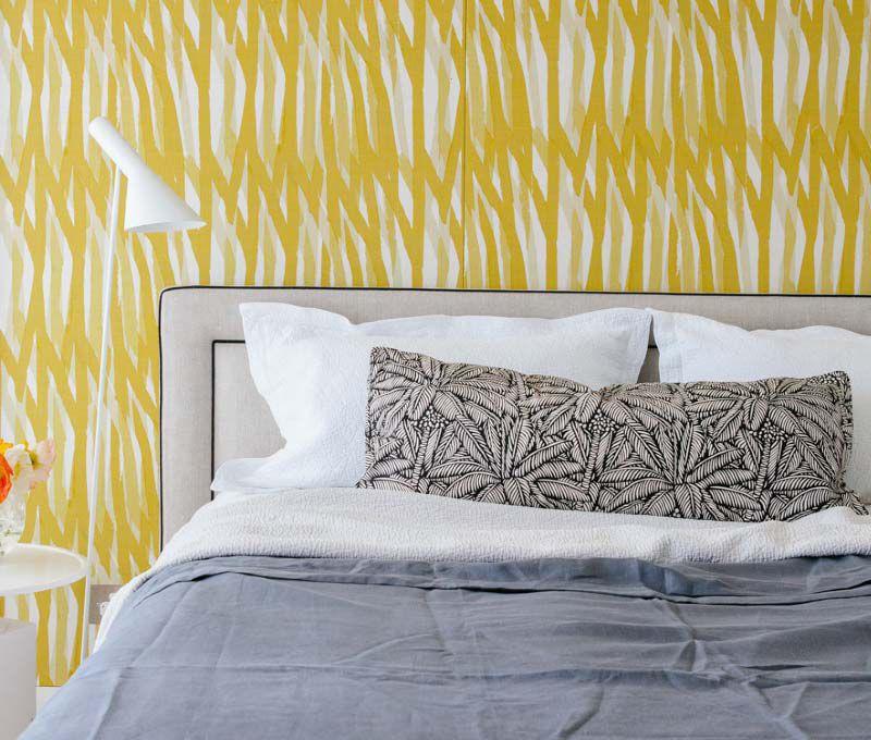 yellow wallpaper in bedroom