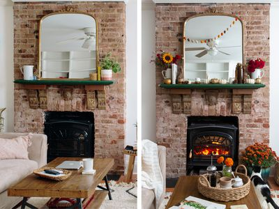 Before-and-after photos of a fireplace and mantel decorated for fall