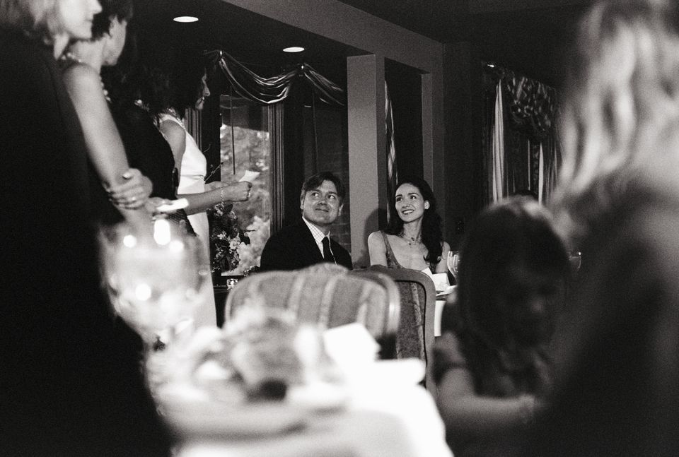 couple at wedding rehearsal dinner