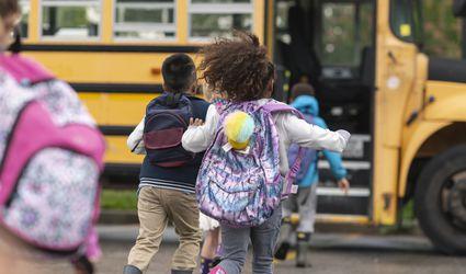 Kids Running to School Bus