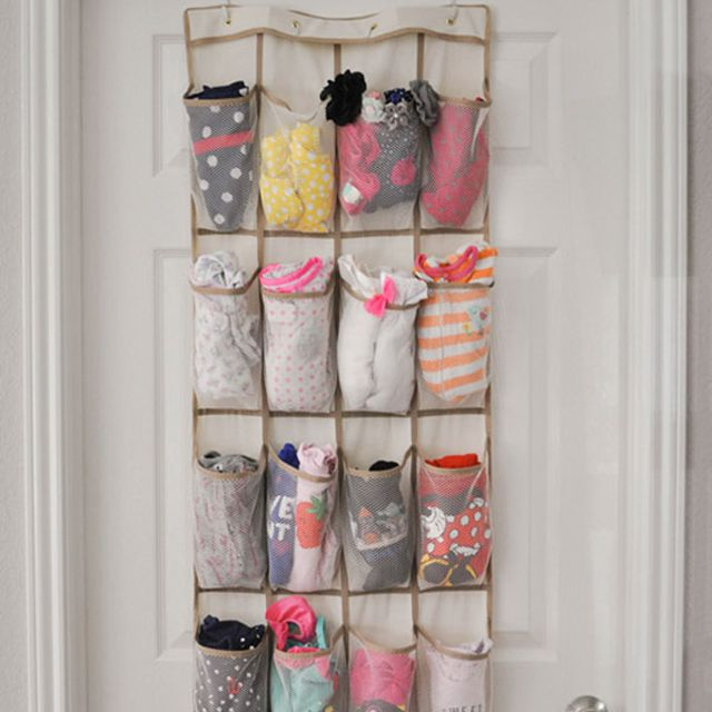 Organize baby clothes with a shoe organizer