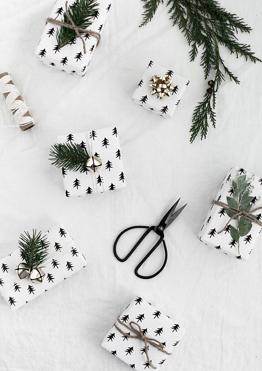 DIY Printable Black And White Christmas Wrapping Paper