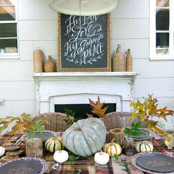 thanksgiving table plaid throws