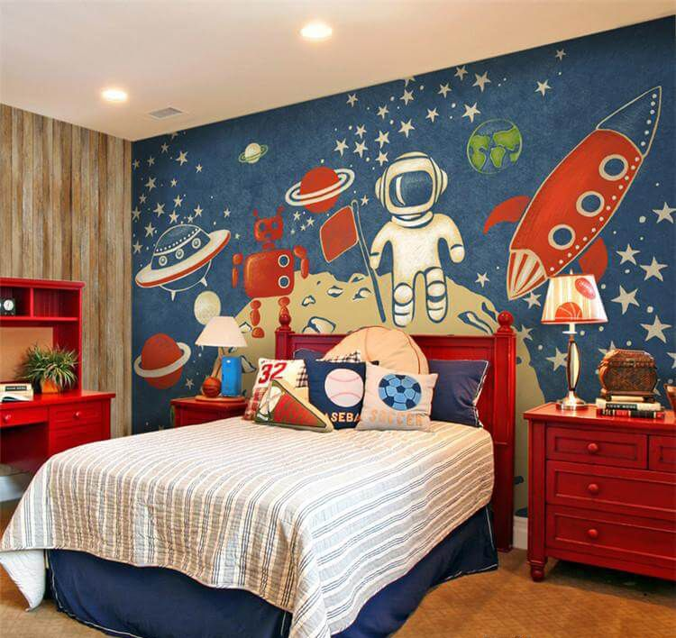 Space-themed boy's room with vintage space mural