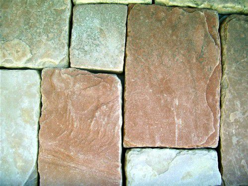 stone tiles in assorted colors for patio