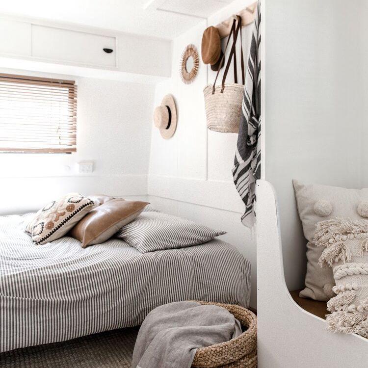 Vintage camper boho bedroom