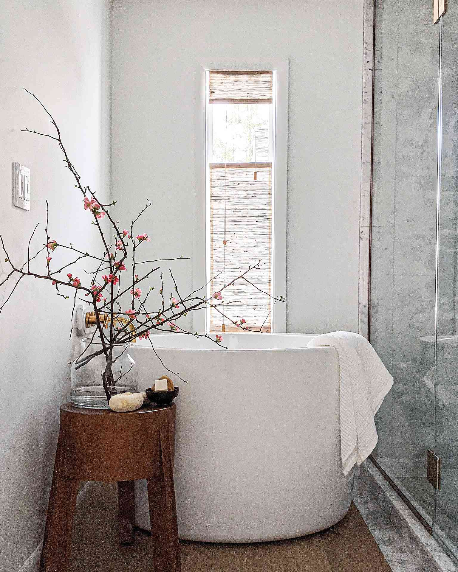 The primary bathroom in Molly & Fritz's home features a Japanese soaking tub