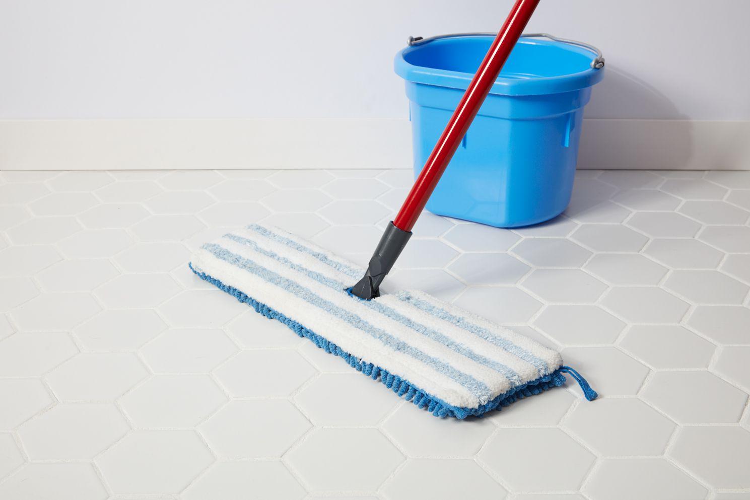 Microfiber mop on glazed tile