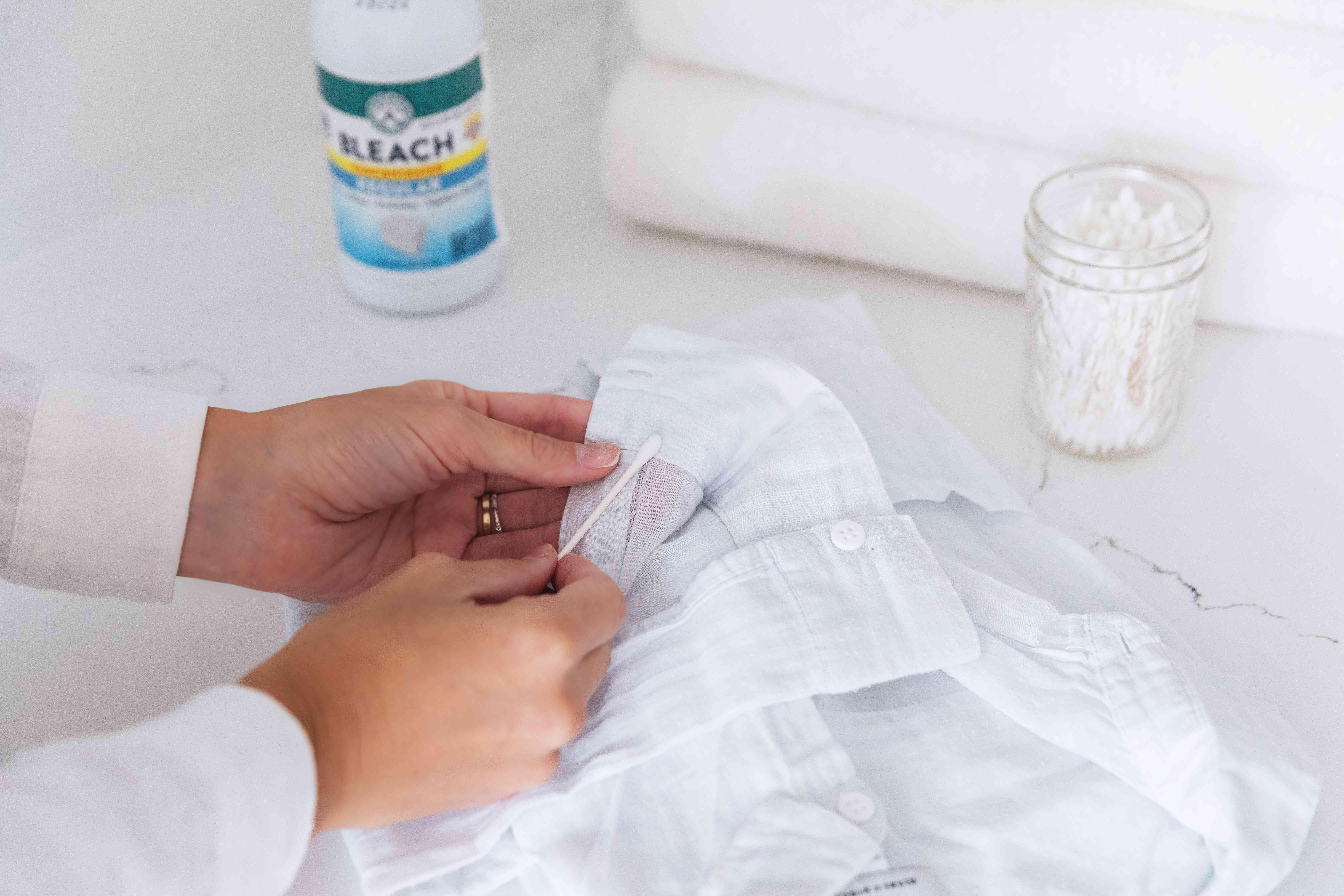 testing bleach on fabric