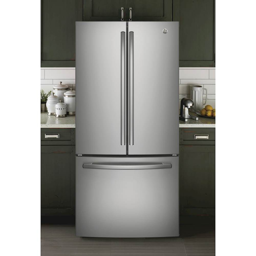 The GE 24.7 cu. ft. French Door Refrigerator is ENERGY STAR-rated and comes in a sleek stainless steel finish.