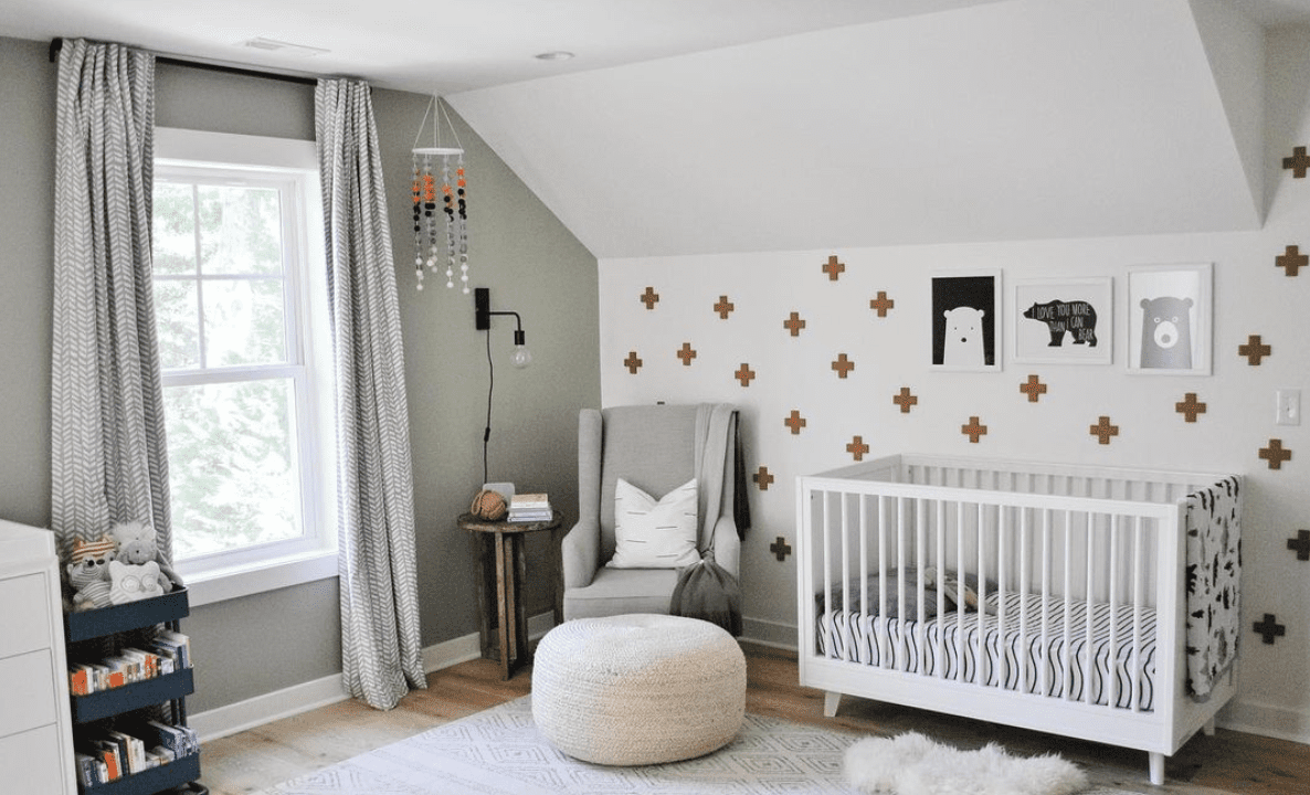 A washi tape feature wall in a nursery.