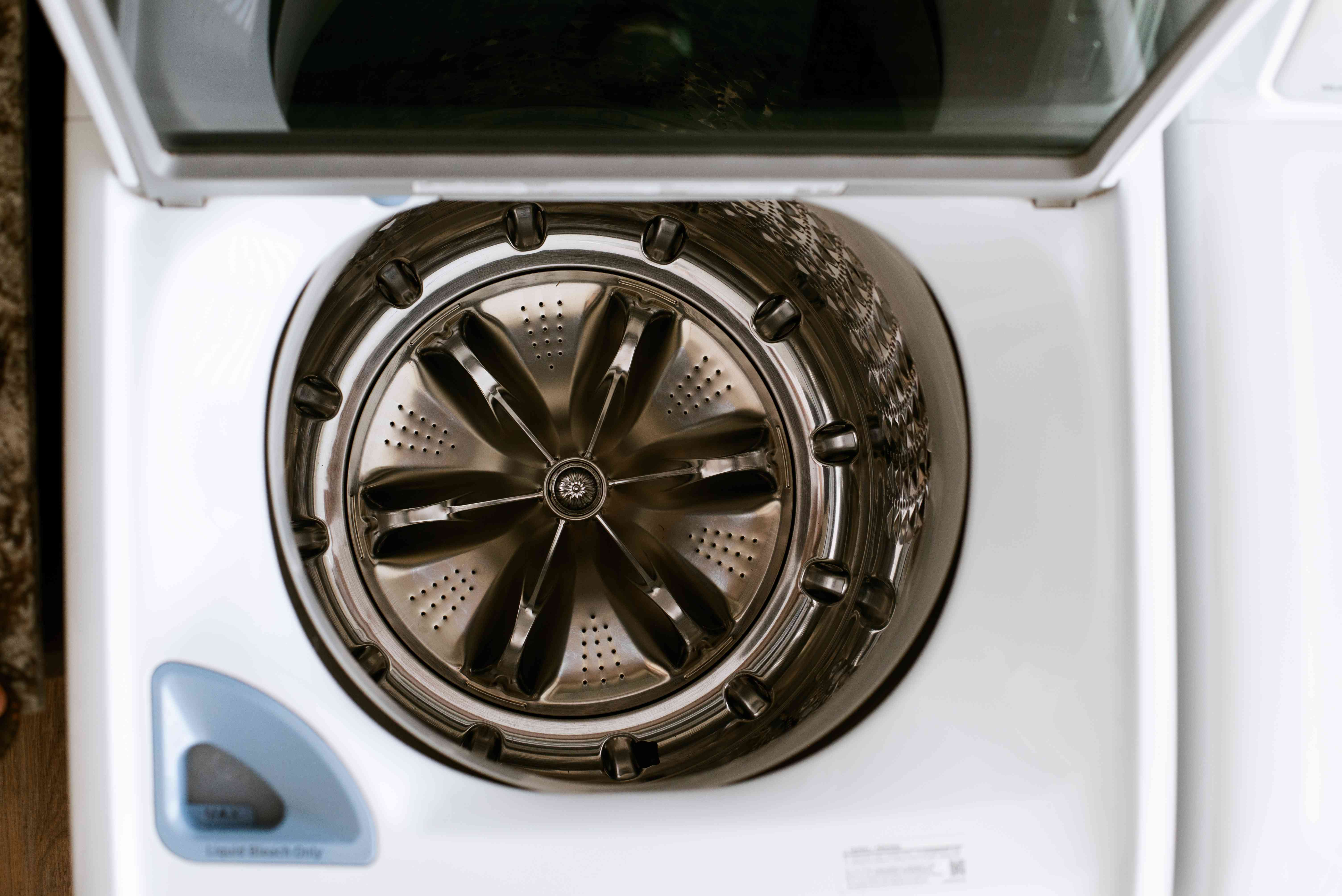 Top-loading washing machine with door open