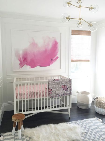 Modern White Nursery With Art Mural