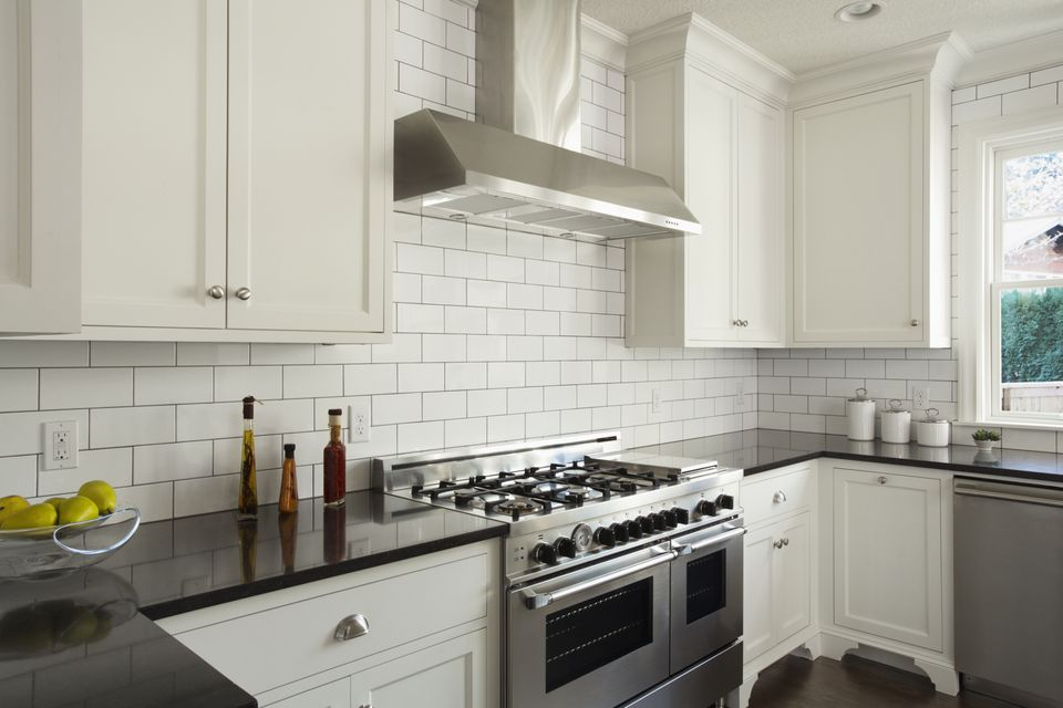 Modern Kitchen With White Subway Tile 478427147