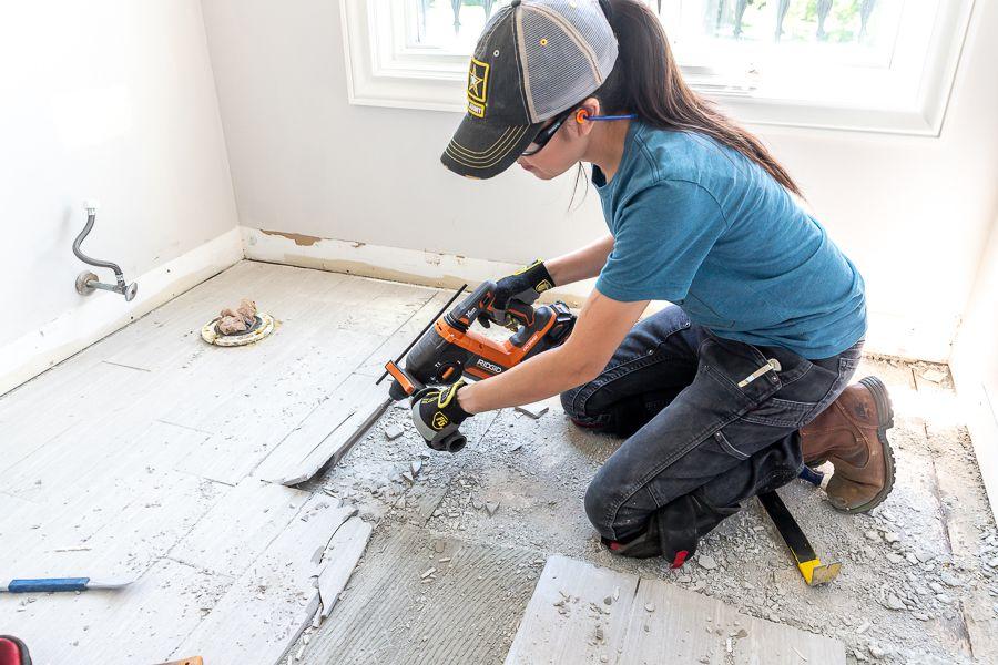 Jen Woodhouse remove floor tiles the easy way