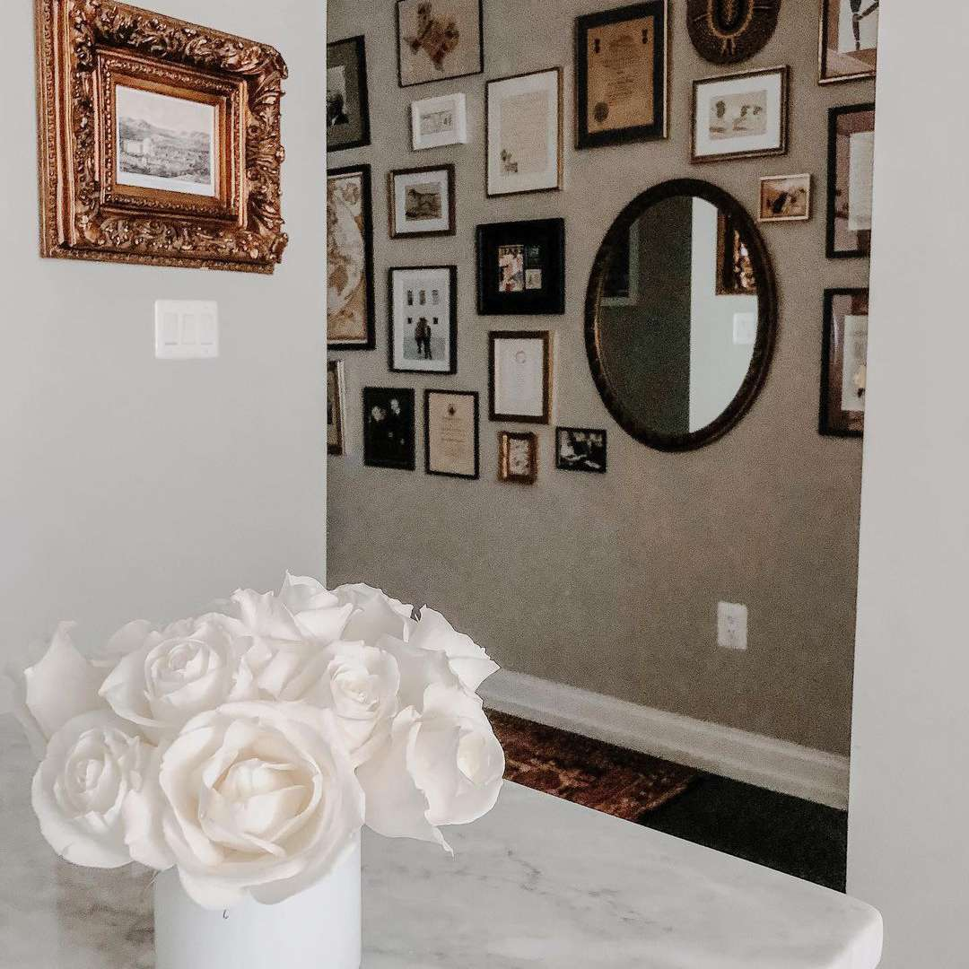 expansive gallery wall in hallway