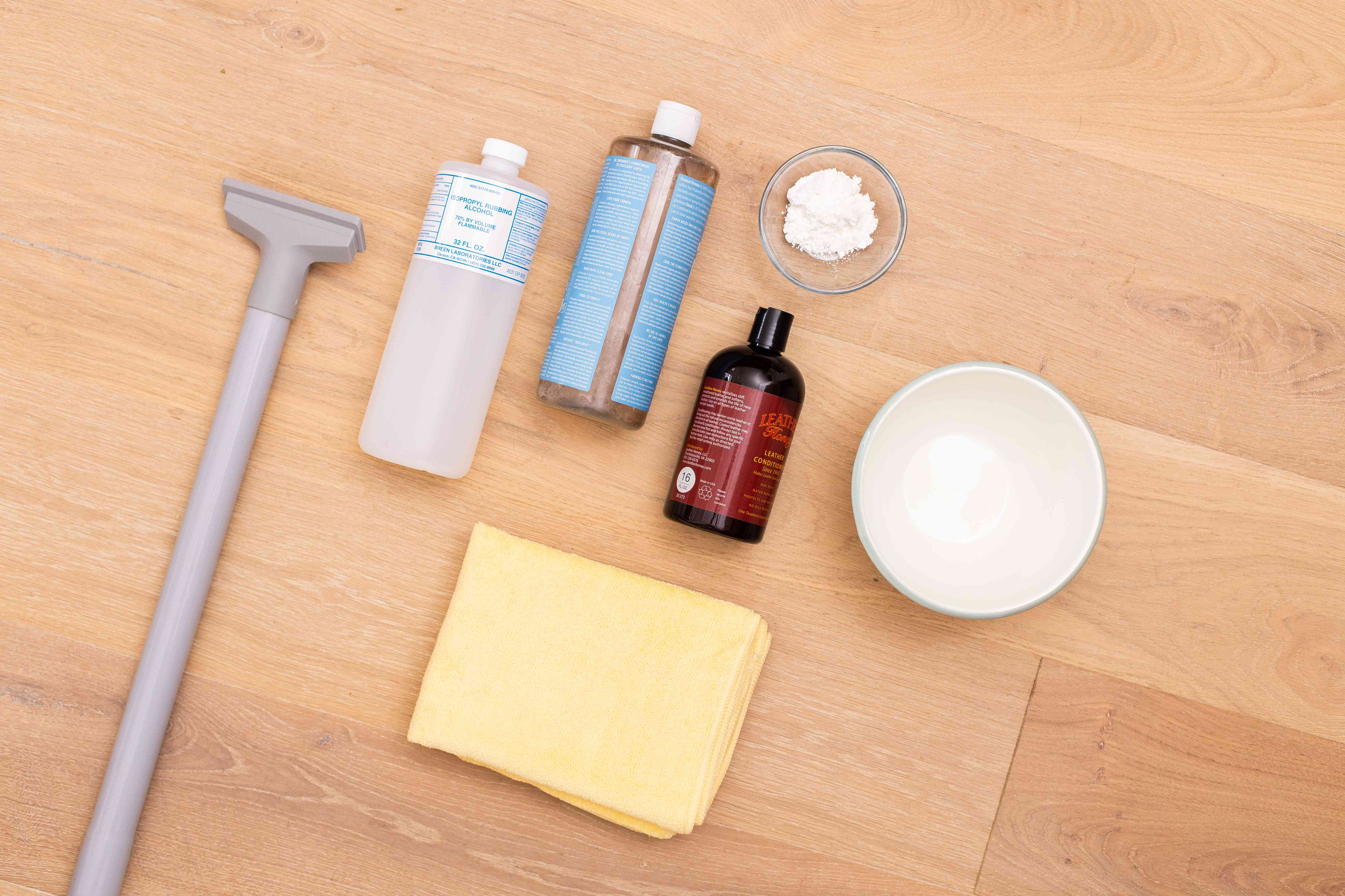 Materials and tools to clean a leather couch
