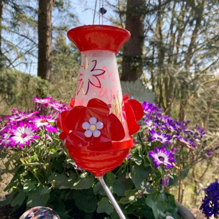 A DIY hummingbird feeder