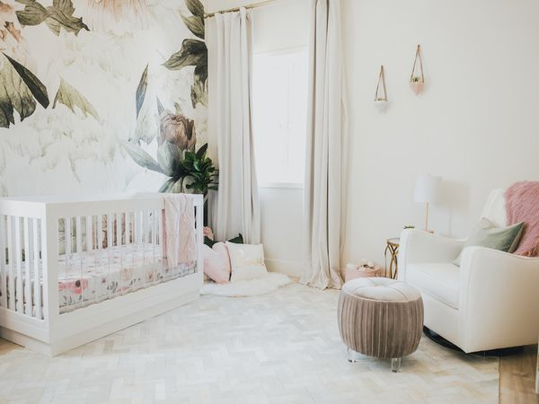 Floral mural nursery in green and blush