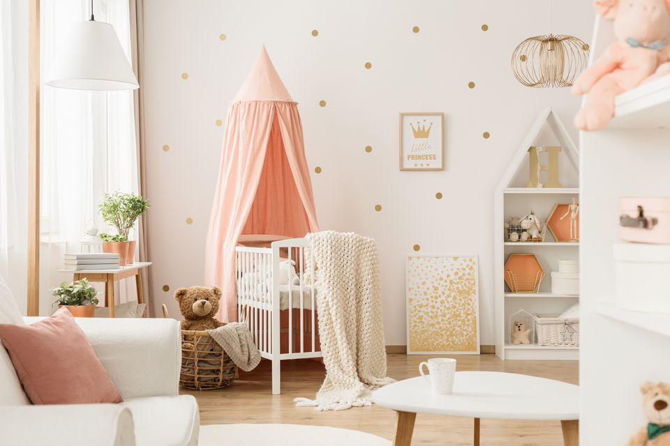 Pink and gold baby's bedroom