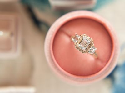 Close-Up Of Diamond Ring In Box On Table