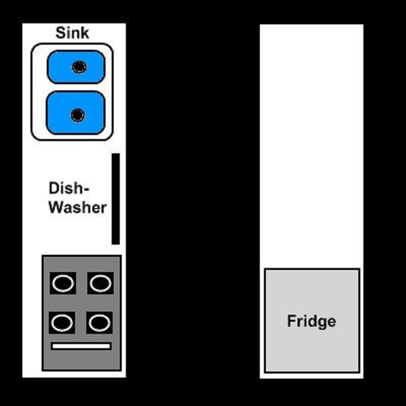 Cocina de pasillo con encimera y refrigerador en un lado