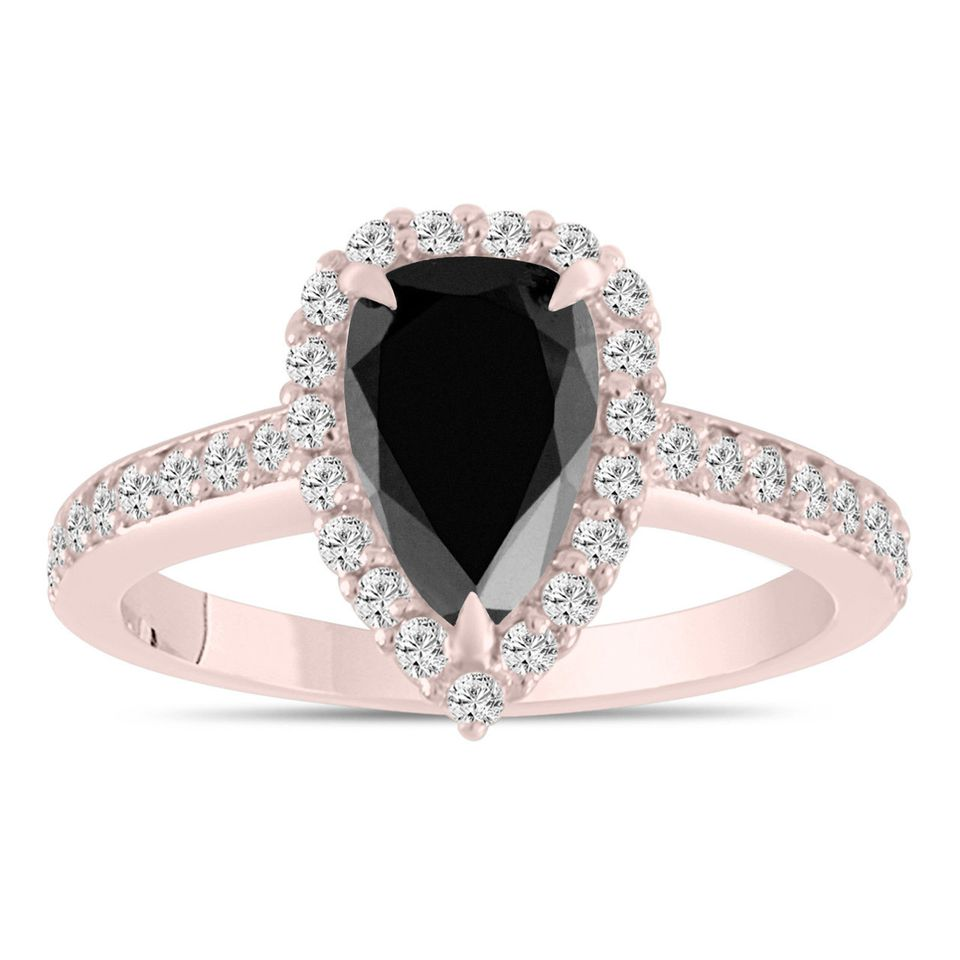 2-Carat Pear Shaped Black Diamond Engagement Ring, Rose Gold Setting