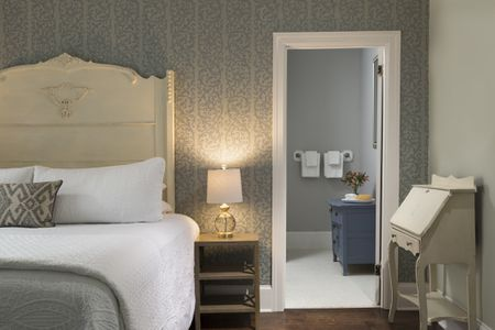 Bedroom And Bathroom Interior With Wallpaper Paint In Beige Gray