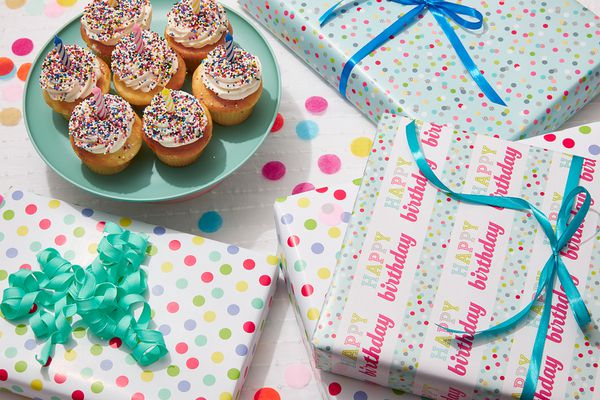 birthday presents and cupcakes