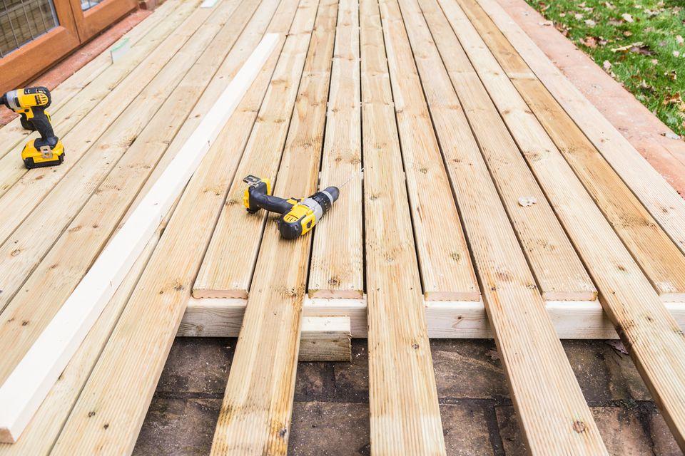Wooden decking construction.